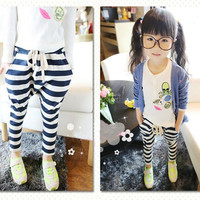 NEW Baby Kids Girls Casual Collapse Pants Harem Pants Stripes Pants Costume 2-7Y NW