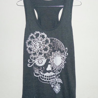 haloween Fashion Skull tank top Lady size S,M, L,XL Dark grey Flower Fashion Skull women t shirt teen top plus size shirts