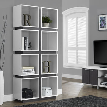 "White / Grey Hollow-Core 71""H Bookcase"