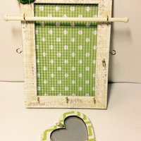 Jewellery organizer frame, Vintage inspired jewelry storage, Stud earring holder, apple green polka dot jewelry stand, girl gift