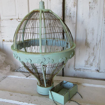 Hot air balloon Bird cage hand painted pale blue green, heavily distressed and rusted anita spero