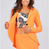 Obid Waffle Textured Blazer And Skort Two Piece Set In Neon Orange