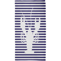 Lobster Nautical Stripes All Over Plush Beach Towel