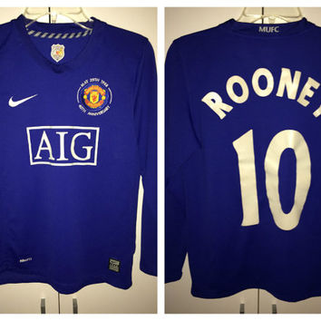 Sale!! Vintage Nike Manchester United long sleeve soccer jersey MUFC England Football Shirt #10 Rooney Size Youth Large Free US Shipping