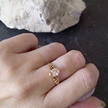 SALE! Oval topaz ring,wedding ring,champagne ring,delicate ring,stack ring,gold ring,gold stacking ring,gemstone ring