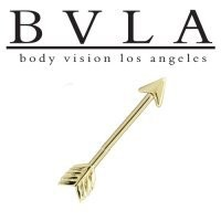 Body Vision Los Angeles Gold Arrow A Industrial Barbell 14g [BVLAGldIndBBArrowA14g] - $395.00 : Diablo Body Jewelry, The Art of High Quality