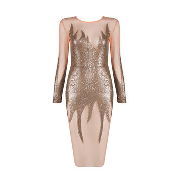 Babe On Fire Gold Sequins Midi Dress