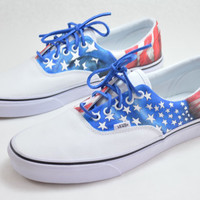 All American Hand Painted Vans Era - USA Flag Theme