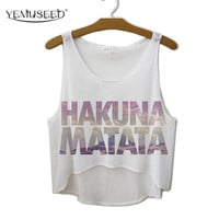 TEMUSEED New Arrival 2016 Summer Style Women T shirt Hakuna Matata Print T-shirt Casual Cropped Top WCT23