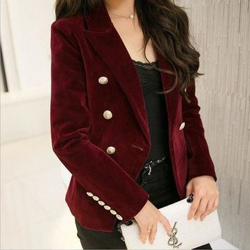 M 2xl Plus Size 2016 Autumn Female Korean Slim Was Thin Velvet Leisure Suit Solid Color Double Breasted Jacket W1085