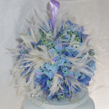 Flower Girl White Feather Pomander- Lavender and Light Blue Flower Pomander-Wedding Kissing Ball- Basket Alternative
