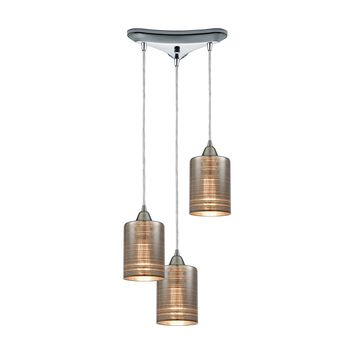 Plated Rings 3-Light Triangular Pendant Fixture in Polished Chrome with Chrome-plated Rings Glass