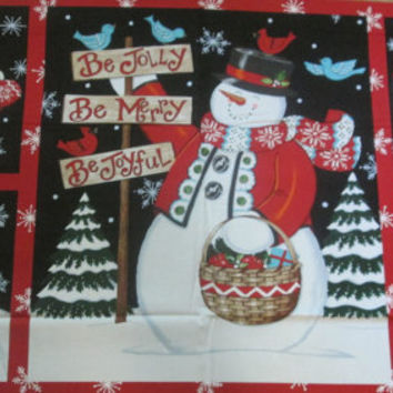 Snowman Panels Christmas Fabric, Fabric by the Yard, Be Jolly fabric by MODA, Christmas Panels, Cotton Fabric,  Christmas Yardage