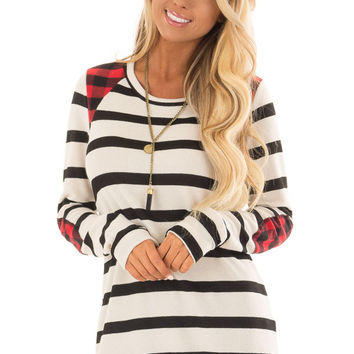 Ivory Striped Sweater with Plaid Elbow and Shoulder Patches
