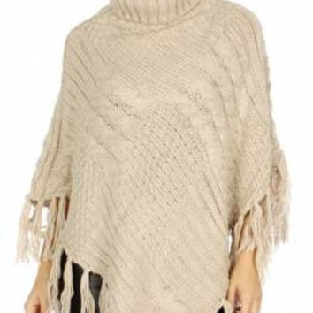 Cable Knit Turtle Neck Poncho w/ Tassel in 4 Colors