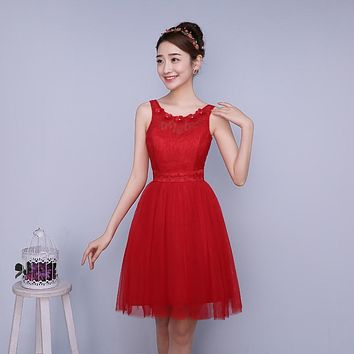 PTH-ZXC2HS#Model show 2016 new spring bridesmaids dresses short wedding prom dress sisters graduation toastp dress cheap red