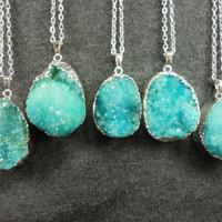 Aqua Agate Druzy Silver Pendant Necklace/Silver Surround/Silver Chain/Bright Blue