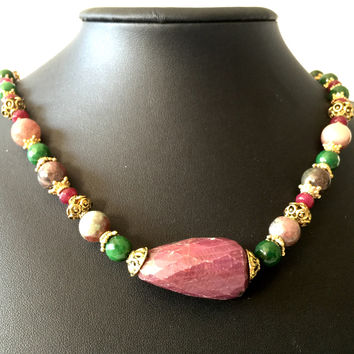 "20"" Vintage Ruby , Emerald (raw) and Gold Necklace, Vermeil Safety Clasp with Emerald"