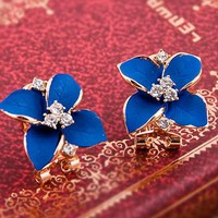 Retro four leaves blue earrings