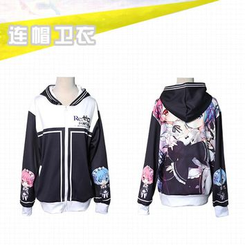 Re:Life in a different world from zero Costume Rem Ram Sweatshirts Cosplay Pretty Girl Lady Rem Ram Jacket Hooded Zip Sweatshirt