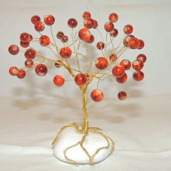 Red lampwork wire tree,wire tree sculpture,beaded tree