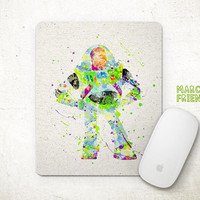 Buzz Lightyear Mouse Pad, Toys Story Watercolor Art, Mousepad, Office Decor, Gift, Art Print, Desk Deco, Computer Mouse, Disney Accessories