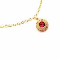 Ruby July Bullet Birthstone Necklace