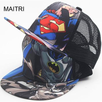 2018 New Kids Baseball Caps Fashion Superman Batman Children Snapback Caps Gorras Planas Boys Hip Hop Hat Mesh Summer Hats 2318