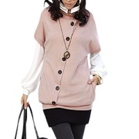 Allegra K Lady Pull Over Single Breasted Decor 2-Pocket Sweater