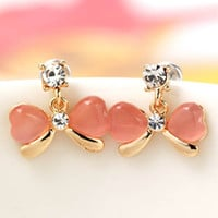 South Korea Jewelry Butterfly Earrings Pink Jewelry Earrings Alloy Opal Rhinstone Stud Ear S1 SM6