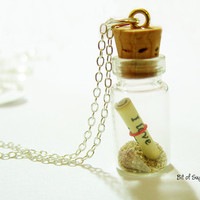 Message in a Bottle Necklace with Shell and Hawaiian Beach Sand