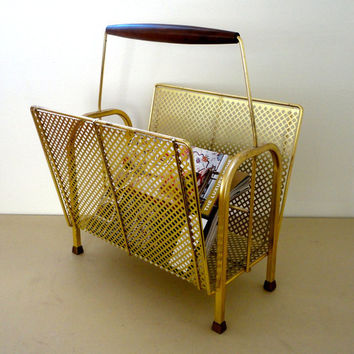 A Beautiful Mid Century Modern Magazine Rack or Holder In Gold With A Diamond Pattern