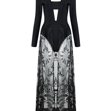Ermana Black Lace Dress