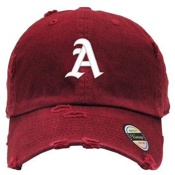 LETTER A Distressed Baseball