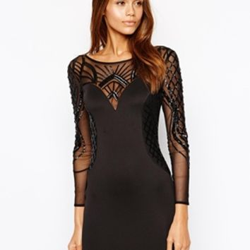 Michelle Keegan Loves Lipsy Embellished Bodycon Dress with Mesh Long Sleeves