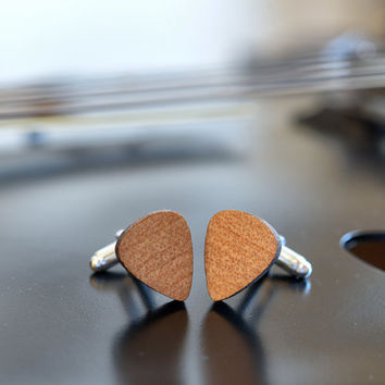 Wood Cufflinks Guitar Pick