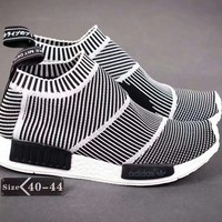 """Adidas NMD"" Men Fashion Multicolor Stripe Knit Socks Sneakers All-match Casual Running Shoes"