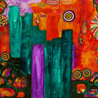 Colorful Cityscape Abstract Art Giclee A New Beginning