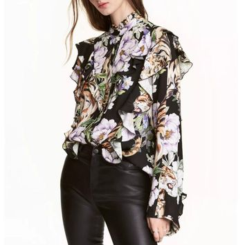 Jungle Vibes Printed Ruffle Blouse