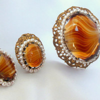 Vintage Germany Marked Glass Brooch and Earring