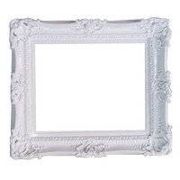 12x16 shabby chic white mirror frame decorative baroque style for art paint pictures weddings high density Polyurethane and painted by hand