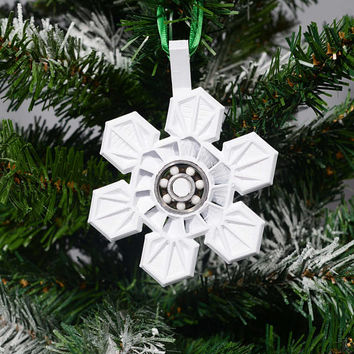 Fidget Spinner, Snowflake, Christmas Ornament, 3D Printed, American Made, with Christmas Tree Hanger, New, Innovative, Ceramic Bearing