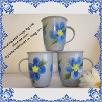 BUY 2 Get 1 FREE - Unique One of a Kind - Hand Painted by ME - Blue Mugs With Blue Floral Accents - Kitchen Decor - Great Gift Idea