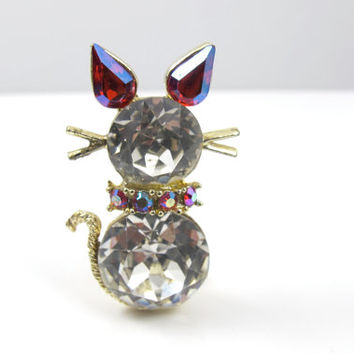 Vintage DODDS Cat Brooch, Clear Red AB Rhinestone Cat Brooch Pin Figural Cat Jewelry