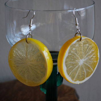 Lemon Slice Earrings, #lemons, #food #slice