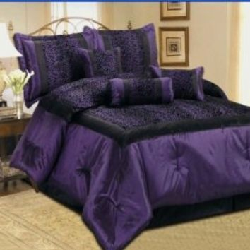 Queen Size Zebra Leopard Safari Patchwork Faux Silk Black / Purple Comforter Set Bedding-in-a-bag