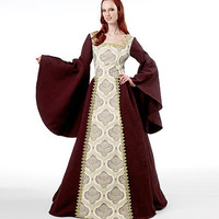 Women's Renaissance Medieval Gown Costume Cosplay LARP Bell Sleeves Lace Back Bust 31.5 to 44 UNCUT McCalls 6376 Reenactment Sewing Patterns