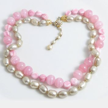 Miriam Haskell Pink Glass Beads and Baroque Glass Pearl 2 Strand Necklace