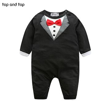 New pure cotton Baby Clothing Bow tie design Baby Romper boy jumpsuit Newborn Babies Rompers