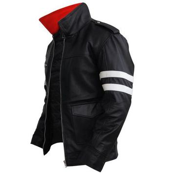 Leather Skin Black Leather Jacket with White Stripes and Dragon Embroided Patch